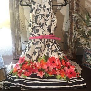 Eliza J Floral Dress Color White Background ,Black